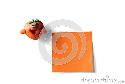 Sticky note and strawberry