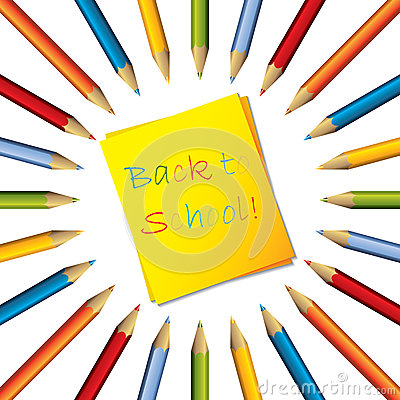 Sticky note with surrounding color pencils