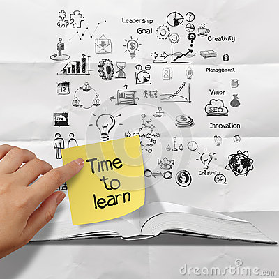 Free Sticky Note Time To Learn On Blank Book And Splash Colors Choice Stock Image - 34783441