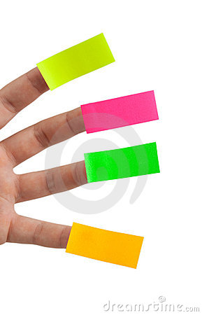 Sticky notes and fingers