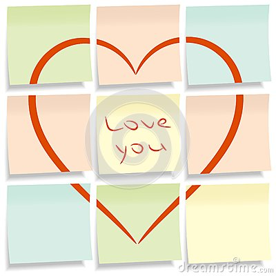 Sticky notes with heart.