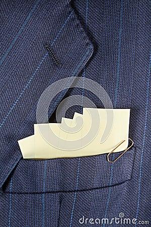 Sticky notes in a pocket