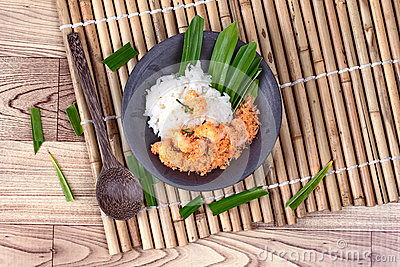 Sticky rice in coconut milk with stir-fried grated coconut and shrimp Stock Photo