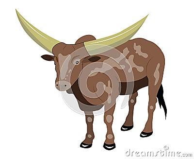 Stier met grote hoornen.