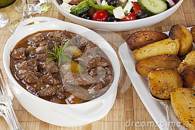 Stifado with Greek Salad and Greek Roast Potatoes