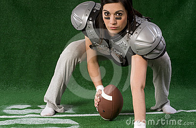 Female Powder Puff Football Player Playing Center