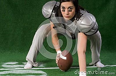 Female Powder Puff Football Player Playing Center