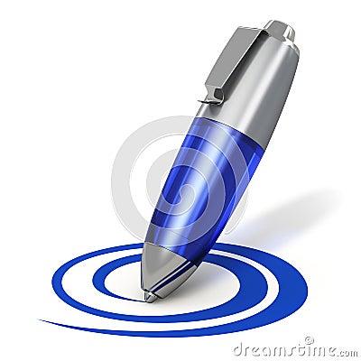 Stift, der eine Form zeichnet