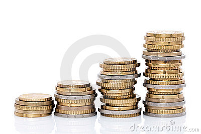 Stijgende stapels muntstukken