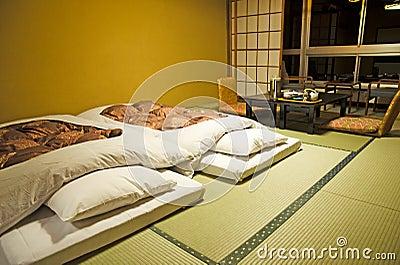 Stile giapponese della camera da letto fotografia stock for Letto stile giapponese