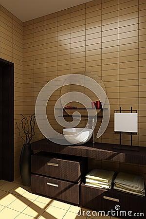 Stile Giapponese Della Stanza Da Bagno Fotografie Stock - Immagine ...