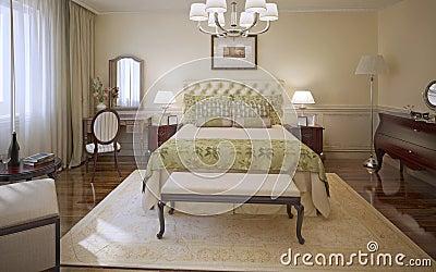 Stile moderno della camera da letto elegante illustrazione for Piani di aggiunta della camera da letto principale