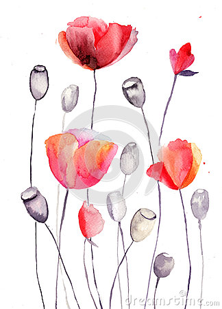 Stilisiert Mohnblume blüht Abbildung