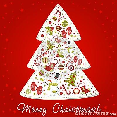 stilisiert weihnachtsbaum mit weihnachten spielt kugeln. Black Bedroom Furniture Sets. Home Design Ideas