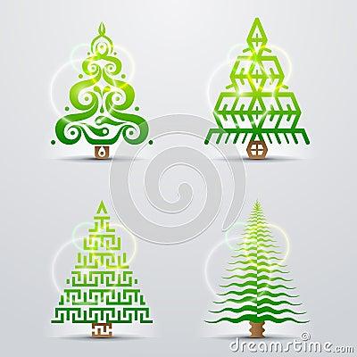 Stilisierte Symbole des Weihnachtsbaums