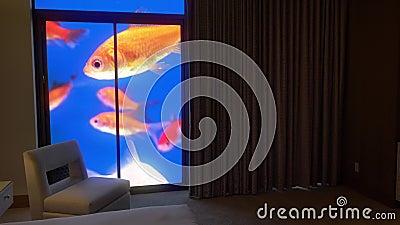 Stilisiertes Aquarium hinter Schlafzimmer-Vorhängen.