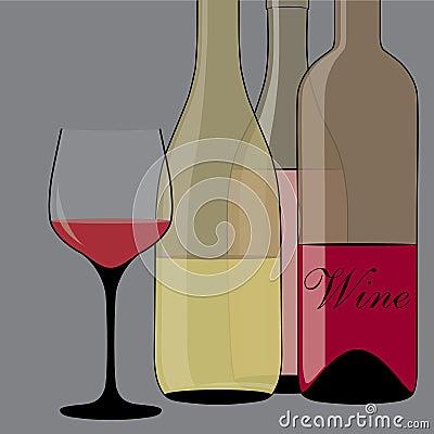 Stilized black pattern with bottle of wine.