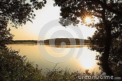 Still lake at sunset