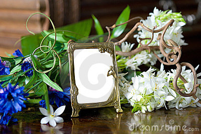 Still life with antique ornate frame.