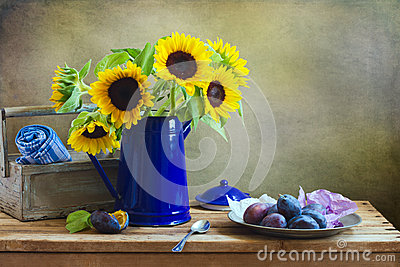 Still life with beautiful sunflower bouquet