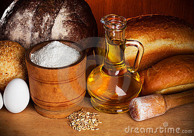 Still-life of bread baking elements