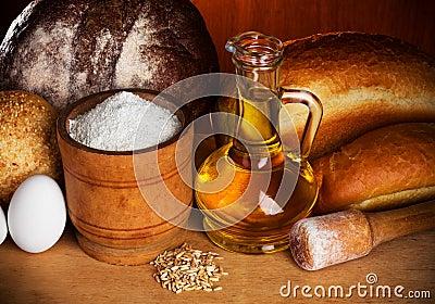 Still-life of bread baking elements