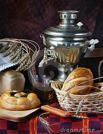 Still life with bread and a cup of tea