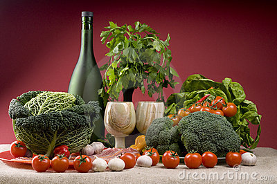Still life with broccoli, cabbage, bacon, tomatoes