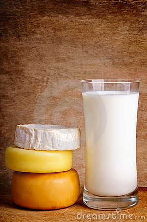 Still life with cheese and milk