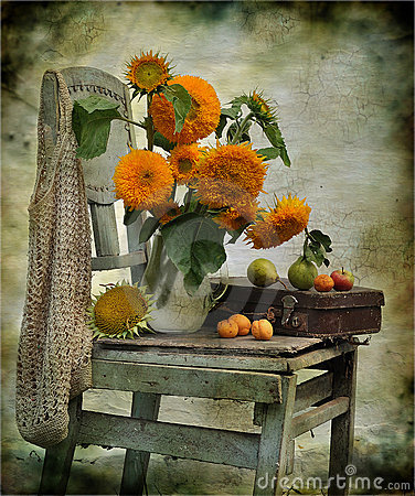 Free Still Life Consisting Of Sunflowers On A Chair Stock Image - 15154021