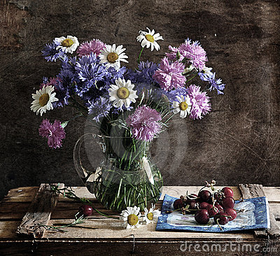 Still life with corn-flowers, camomiles and carnat