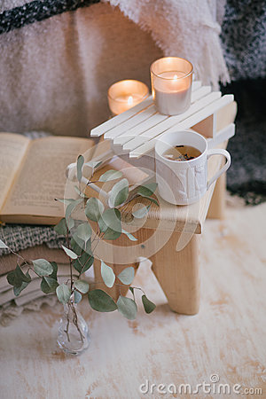 Free Still Life Details Of Interior: Knitted Clothes On A Vintage Wooden Floor, Cup Of Tea And Book Royalty Free Stock Photography - 84794937