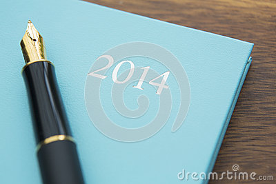 Still Life Of 2014 Diary With Fountain Pen