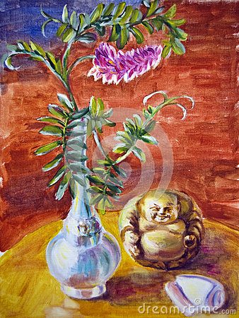 Still life with flowers and idol