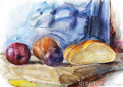Still life with fruit and half of bread