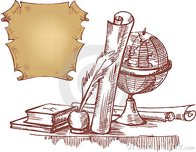 Still life with globe, books and old maps