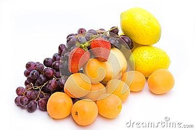 Still life of grape, lemons, pears, strawberry