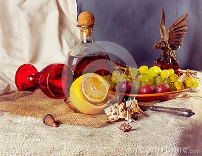 Still Life with Grapes and liqueur