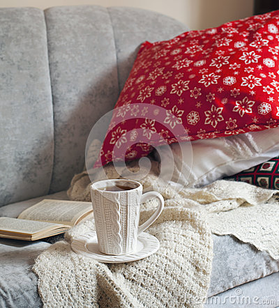 Free Still Life Interior Details, Cup Of Tea And Book On The Sofa Stock Photo - 47022860