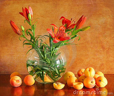 Still life with lilies and apricots