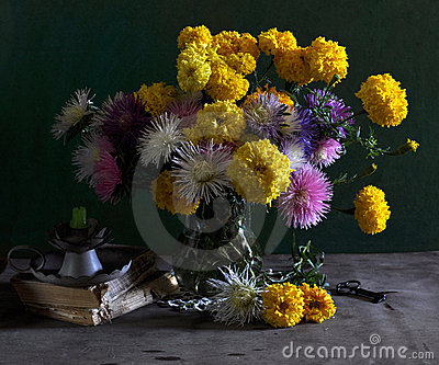 Still life with marigolds and asters