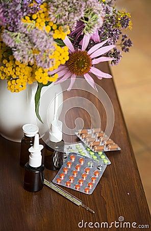 Still life from medicinal herbs and medicines