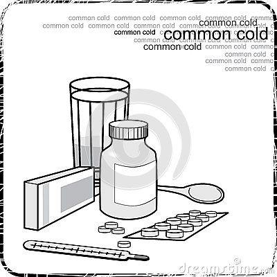 Still life with medicine for the flu and colds