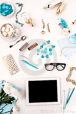 Free Still Life Of Fashion Woman, Blue Objects On White Royalty Free Stock Photo - 68486405