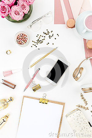 Free Still Life Of Fashion Woman, Objects On White Stock Images - 68430364