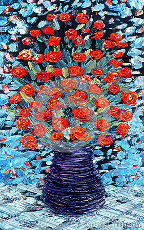 Free Still Life Oil. Bouquet Of Red Flowers On Blue Background Stock Image - 87088851