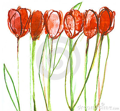 Still life painting tulips.
