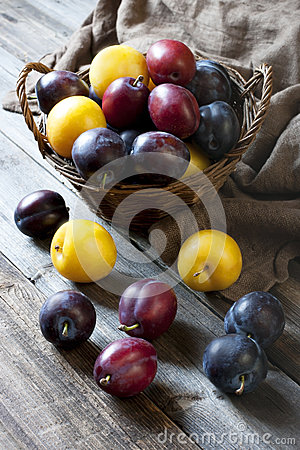 Still life with plums in a basket on the table