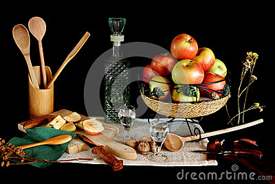 Still life with rakia and apples