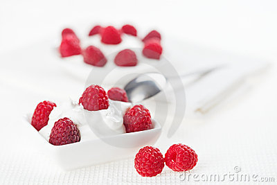 Still life with raspberry sour cream dessert